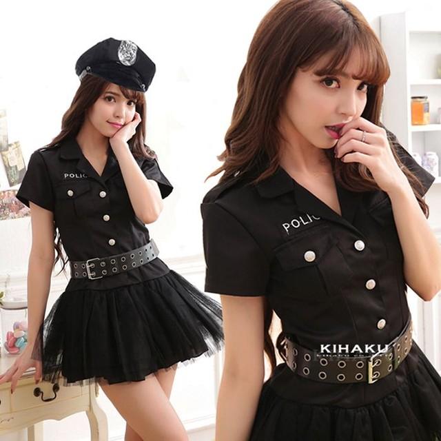 【即日出荷】黒パニエ  婦人警官 ポリス コスプレ衣装【5810】