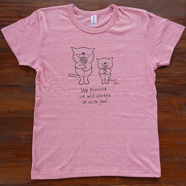 にゃんきーとすTシャツ「フラワー」ヘザーピンク