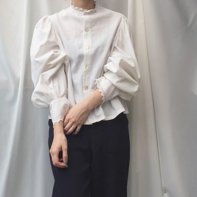 vintage balloon sleeve cotton blouse
