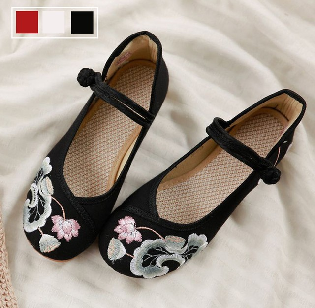 3colors 刺繍靴 手作り靴 チャイナ靴 中国風靴 中国風ボタン 民族風 レトロ チャイナドレス靴 ズック ゴム 35 36 37 38 39 40 41 レッド ブラック ホワイト