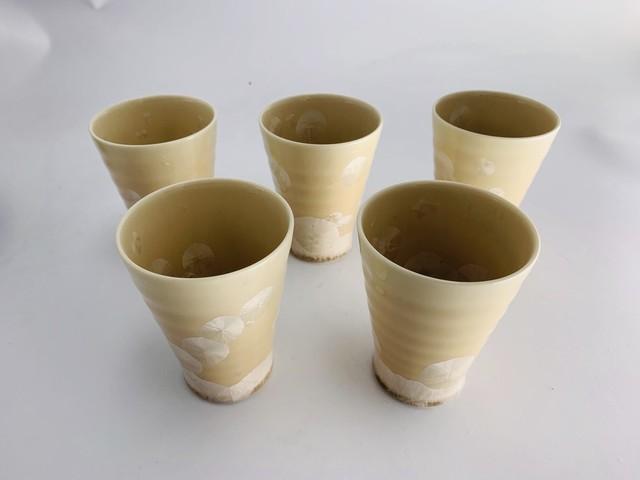 outlet 清水焼 陶あん 花結晶 なごみカップ ベージュ5個組*限定1組