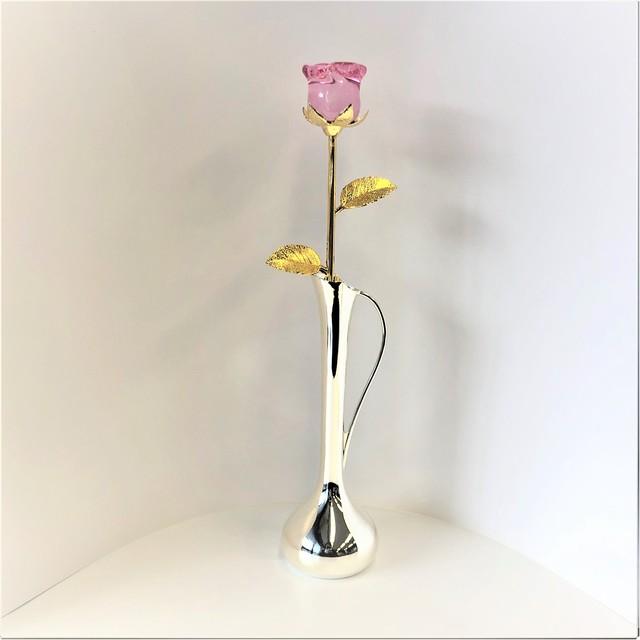 ガラスの薔薇(ピンク)とキング一輪挿し(071)
