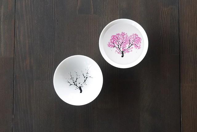 冷感桜 白平盃ペアセット *丸モ高木陶器* お酒をより楽しむためのおしゃれな酒器!