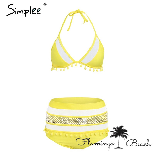 【FlamingoBeach】mesh high west bikini yellow