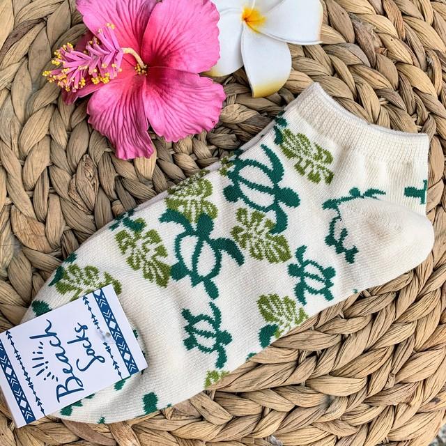 【kahiko/カヒコ】ホヌアンクルソックス ハワイアン靴下 ホワイト