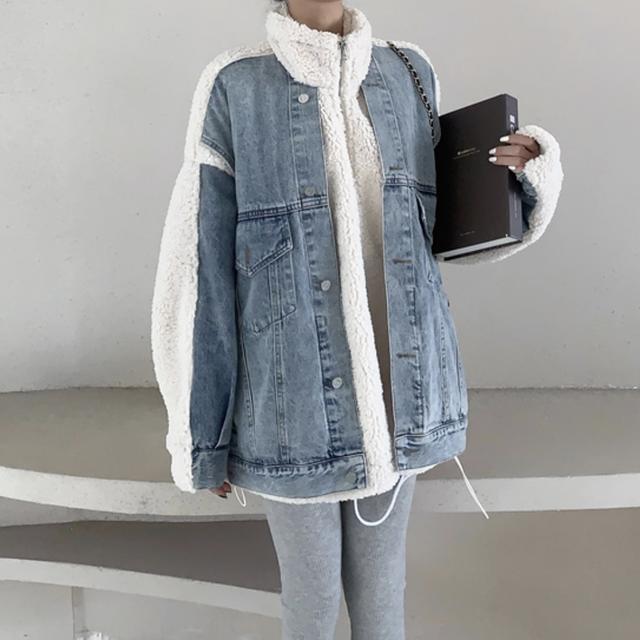ジャケット デニム フェイクジャケット 長袖 秋冬物 ボタン おすすめ ゆったり シンプル 防寒 あたたか お出かけ