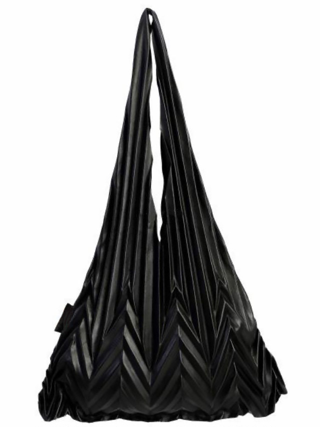 【UNISEX - 1 size】LEATHER PLEAT BAG / Black