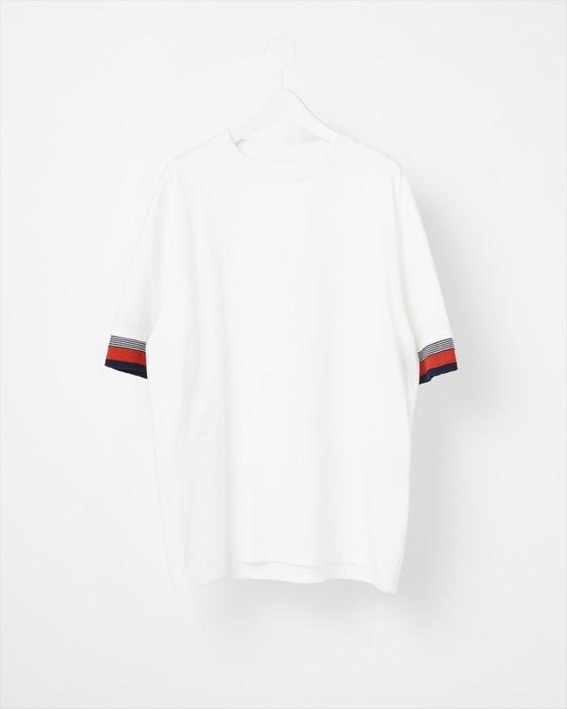 【COOHEM MEN】KNIT DETAIL T-SHIRT:ホワイト