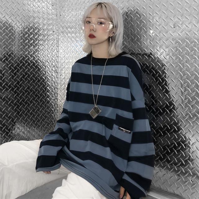 【トップス】カジュアル韓国系長袖ストライプ柄Tシャツ25976718