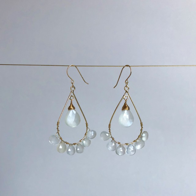 Drop Chandelier Earrings (White Moon Stone)