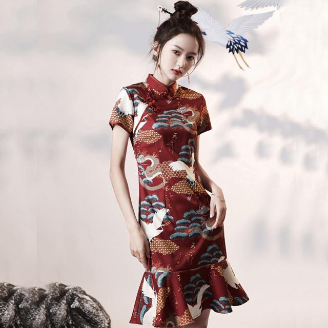 【悅巧シリーズ】★チャイナドレス★ ワンピース マーメイドライン レトロ 龍紋 レッド 赤い パーティー 結婚式