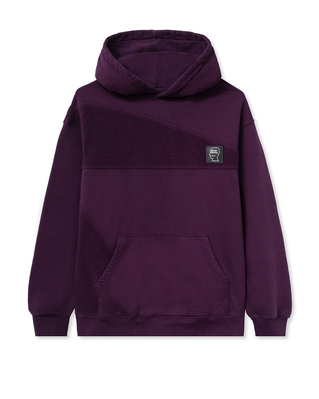 BRAIN DEAD LOGO ASYMMETRICAL PANELED HOODED SWEATSHIRT BURGANDY