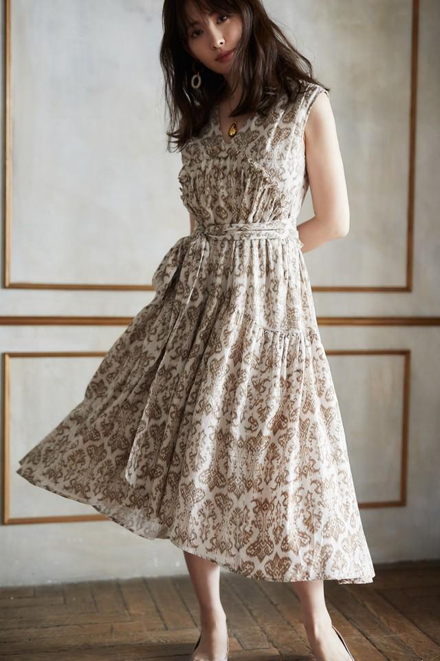 Damask Cotton Midi Dress