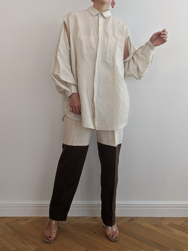 Removable sleeve shirt - IVORY