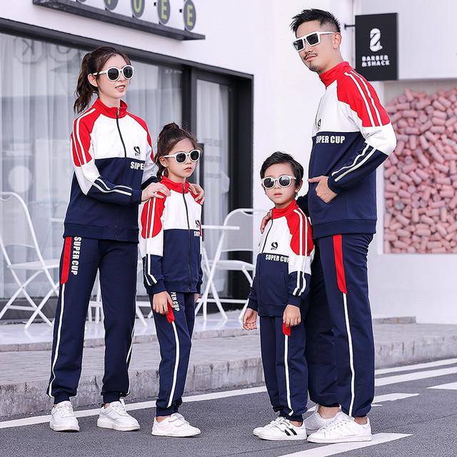 3人と4人の親子が春と秋に着る21の流行の家族が母と母と子がスポーツスーツを着る スプリング 春物 オータム 秋物 贝丽西旗舰店 贝丽西旗舰店96446706307