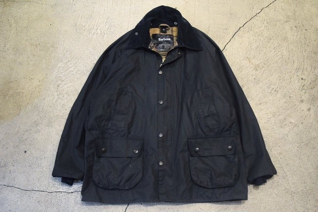 USED Barbour BEDALE Navy L-XL made in England J0335
