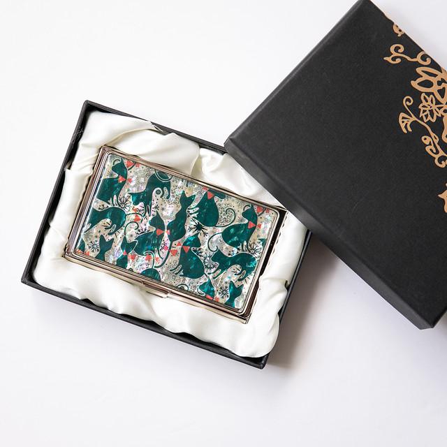 天然貝 名刺カードケース(キュートキャット・グリーン)シェル・螺鈿アート