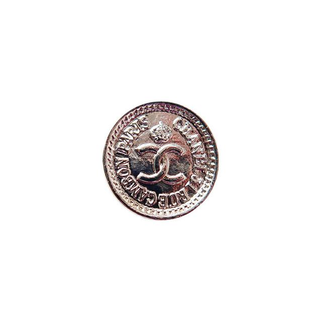 【VINTAGE CHANEL BUTTON】シルバー ミニ コイン ココマーク ボタン 1.3cm C-19086