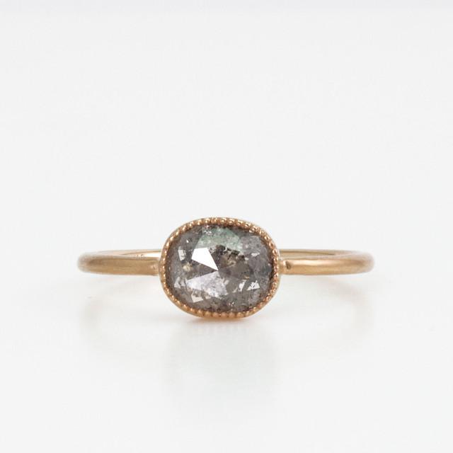 Natural diamond ring /  Oval rosecut