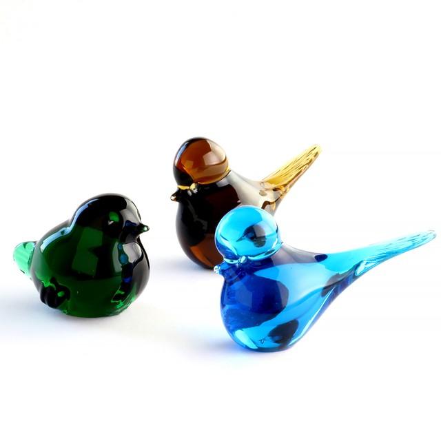 Eneryda Glasbruk エネリーダ・グラスブルック アンバーガラスの小鳥 北欧ヴィンテージ