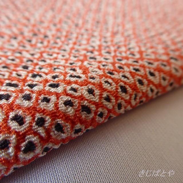 正絹りんず オレンジぼかしに青海波のはぎれ 半衿に