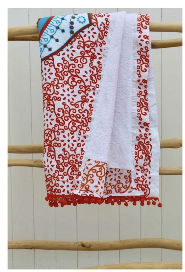 ◆Mon ange Louise◆ Beach towel(gray)ポンポン付きラウンドビーチタオル