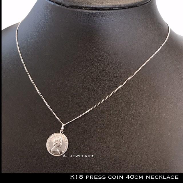 ネックレス 18金 プレス コイン 14mm  k18 プレス コイン デザイン ネックレス 40cm レディース推奨 / k18 14mm  press coin  necklace 40cm