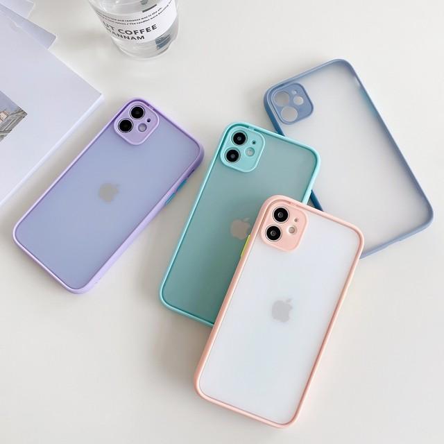 【iPhone12新機種対応!!】優しいパステルカラーのシンプルマットiPhoneケース *p00038