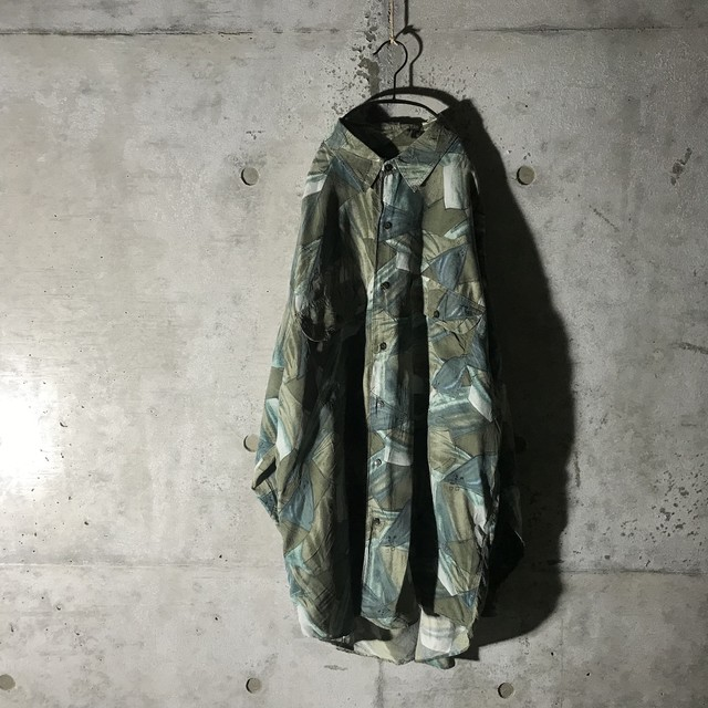 [used] moss green designed shirt