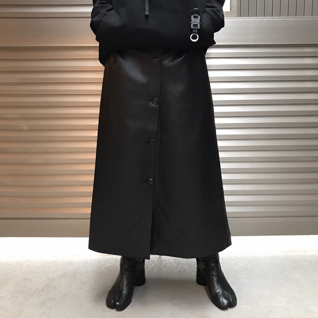 【WOMENS - 1 size】A-LINE LEATHER SKIRT / Black