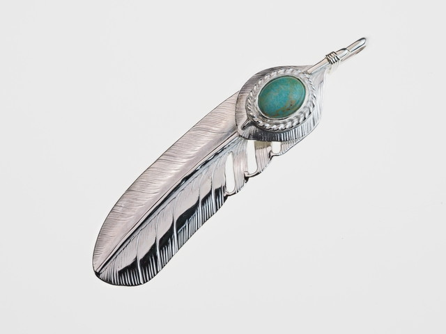 P-066  feather L (R)+Heart feather+silver rope (turquoise)