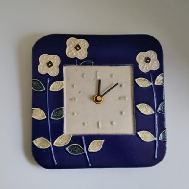 青い花の掛け時計 ☆5月中送料無料