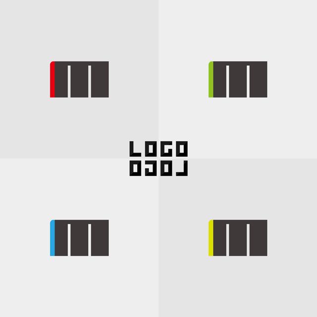 M(エム)の文字または太い三本縦線とアクセントになる縦線の色が入ったロゴ