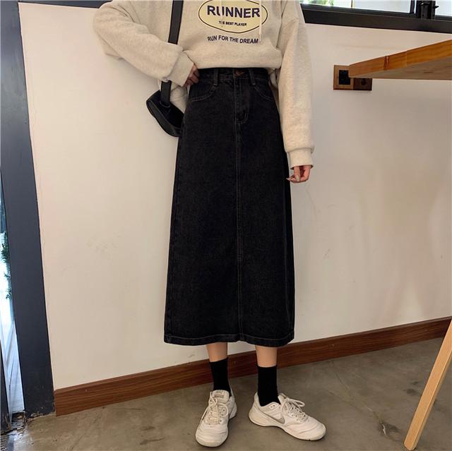 【レディース】ハイウエストデニムスカート