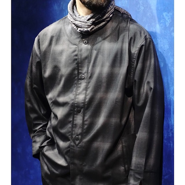 SUPER 120'S NO COLLAR SHIRT JACKET
