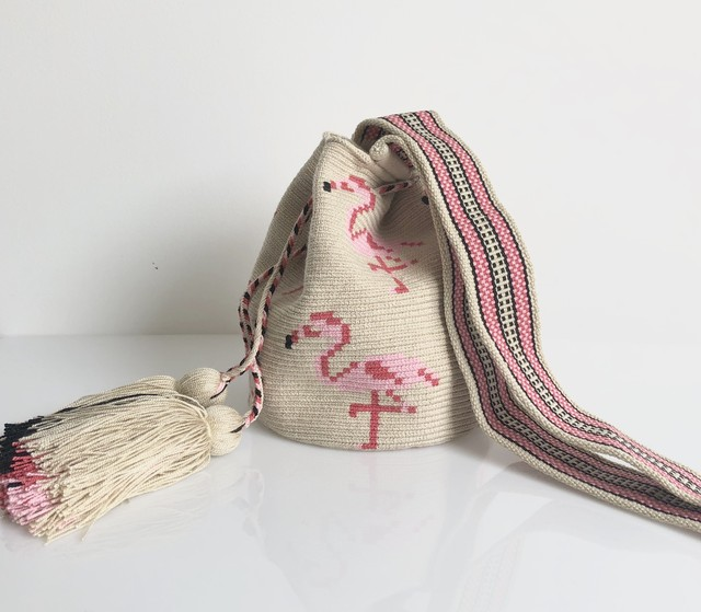 ワユーバッグ (Wayuu bag) Luxe Line Flamingo Sサイズ