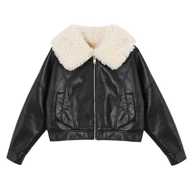【Cat & Parfum】Big Collar Eco Leather Jacket