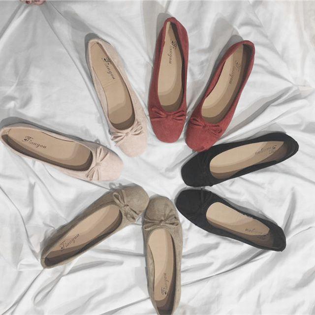 スクエアトゥ スエード フラットシューズ バレエシューズ パンプス / Flat square scoop shoes (DCT-572314613995_3)