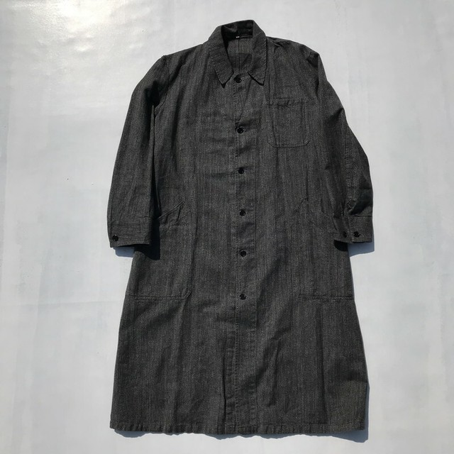 60's~ ユーロショップコート ブラックシャンブレー 黒シャン ワークコート 46 美品 フランス 希少 ヴィンテージ