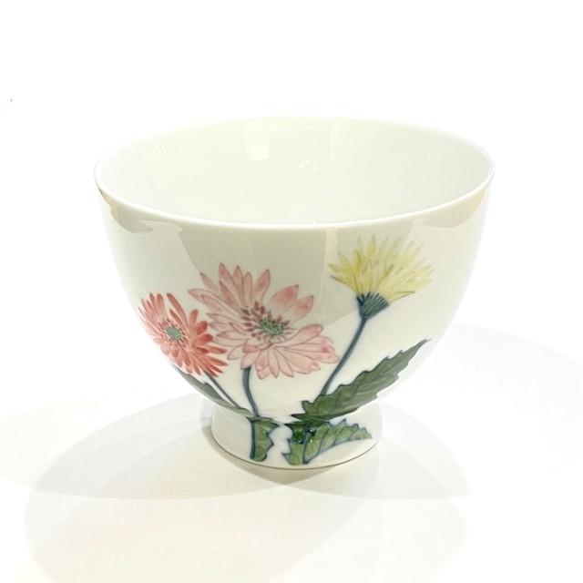 ガーベラ ピンク 茶碗 大