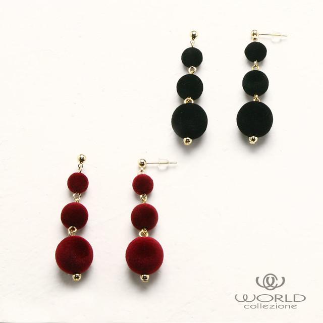 【worcolle】ベルベットボールのピアス(ブラック・ワインレッド)(No.132051-52)