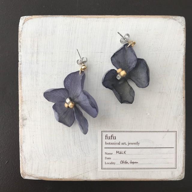 紫陽花(珊瑚)花びら耳飾り