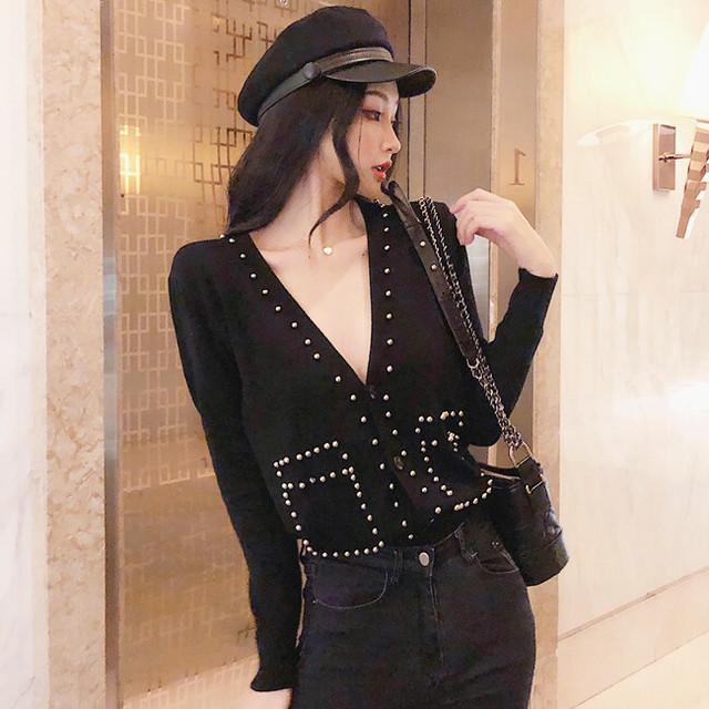 【トップス】ファッション韓国系Vネック簡約ニット長袖カーディガン24070188