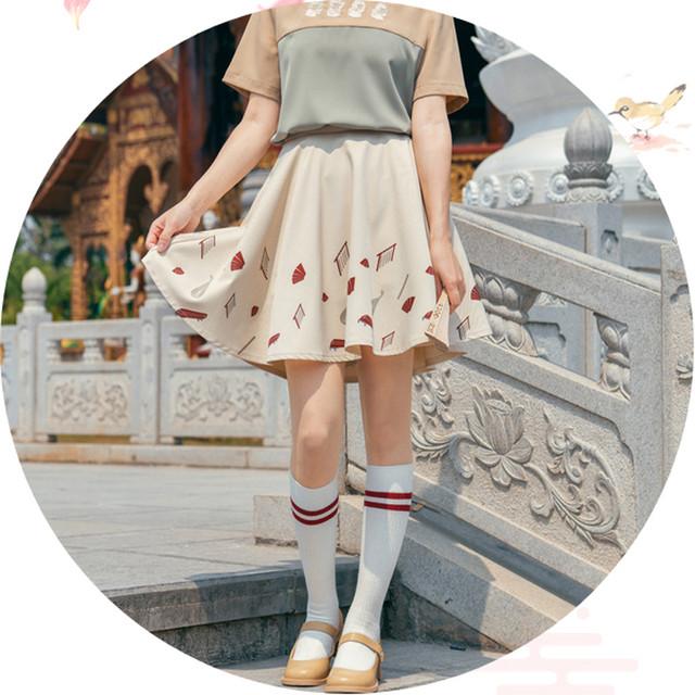 【森女部落シリーズ】★チャイナ風スカート★ ミニスカート ボトムス 可愛い プリント ベージュ スウィート