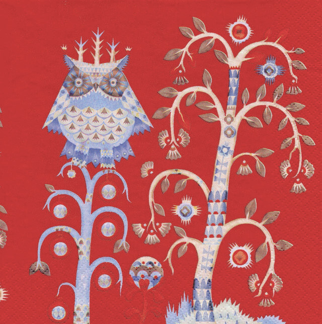 【iittala】バラ売り1枚 ランチサイズ ペーパーナプキン TAIKA レッド