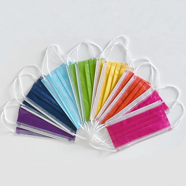 虹色カラフル3層ファッション不織布マスク(7色×2枚計14枚入)(L21049-043)
