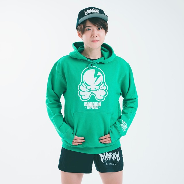 OCTOPUS SKULL HOODIE (Bright green×White)