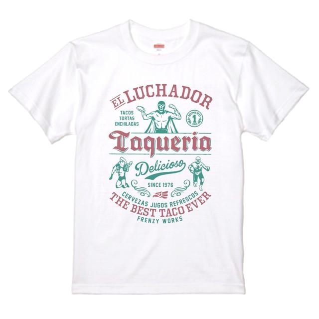 LUCHADOR WHITE カラープリント レスラーのタコス屋さん ルチャドール ルチャリブレ 白Tシャツ