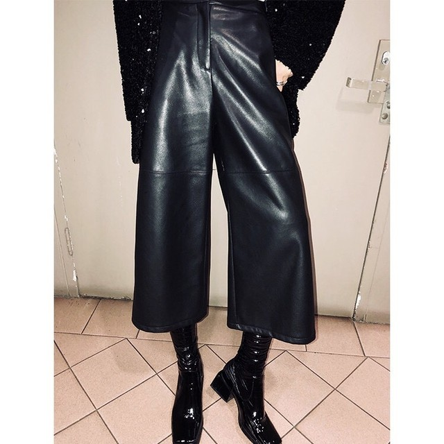 leather wide pants