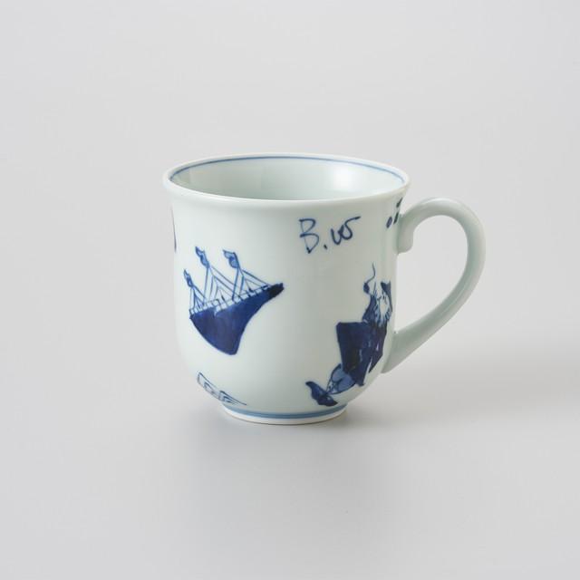 【青花】異人づくし 反マグカップ